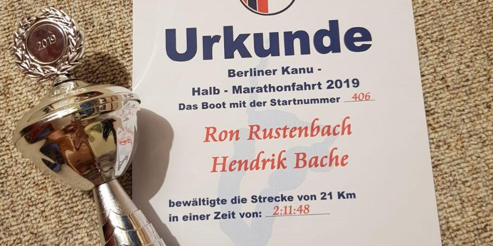 Podestplatz im Kanu-Halbmarathon in Zeuthen und Potsdam